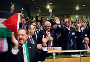 The Palestinian delegation after the vote in the UN General Assembly upgrading the Palestinian Authority to a non-member observer state.