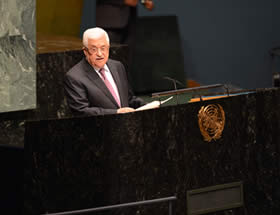 Mahmoud Abbas addresses the UN General Assembly (Wafa News Agency, November 30, 2012).