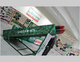 An exhibition organized at Beir Zeit University organized by Hamas featuring models of the M75 long-range rockets launched by Hamas to attack Israel in Operation Pillar of Defense.