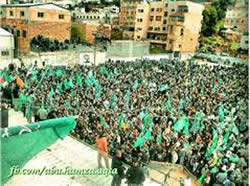 A rally in Hebron to mark the 25th anniversary of the founding of Hamas (Hamas forum, December 14, 2012).