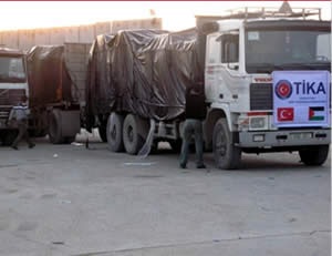 Medical aid from the Turkish government's TIKA on its way to the Gaza Strip (Anadolu News Agency, Turkey, December 24, 2012).