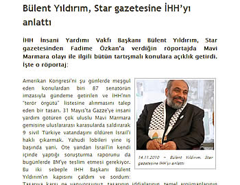 Bülent Yildirim's interview in the Turkish newspaper Star.