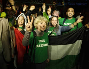 Olivia Zemor, EuroPalestine president, leader of the its delegation to the Gaza Strip (Qudsnet website. December 28, 2012)