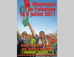 EuroPalestine poster calling for volunteers to fly to Ben-Gurion international airport on July 8, 2011