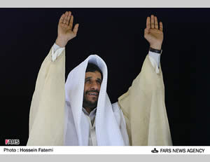 President Ahmadinejad in local attire during a visit to Khuzestan in January 2010