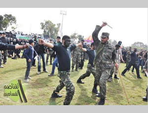 Gazan youth put on a military display at the graduation ceremony of a winter camp (Hamas forum website, January 27, 2013).