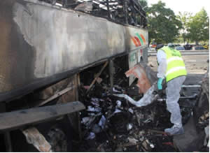 The remains of the Israeli tourist bus at the Burgas airport (Photo courtesy of the ZAKA spokesman, July 19, 2012)