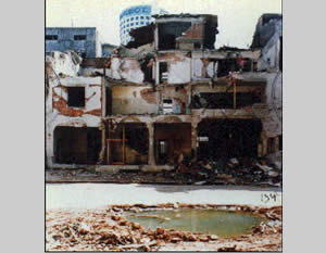The AMIA building after the explosion