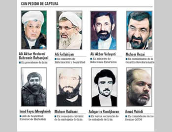 The seven senior Iranians and one Hezbollah terrorist operative for whom Argentina issued international arrest warrants