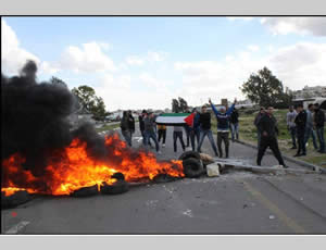 Palestinian youths burn tires at the Jalame checkpoint (north of Jenin) (Wafa News Agency, February 15, 2013).