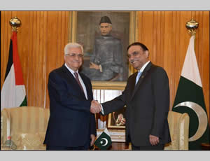 Mahmoud Abbas meets with the Pakistani president in Islamabad