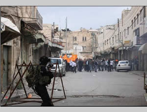 Palestinians demonstrators in Shuhadaa Street in Hebron.