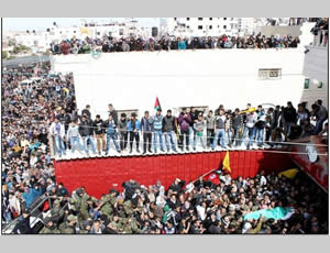 Funeral of Palestinian terrorist operative Arafat Jaradat, held in the village of Sa'ir