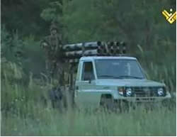 Hezbollah pickup mounted with a rocket launcher (Al-Manar website, December 25, 2012).