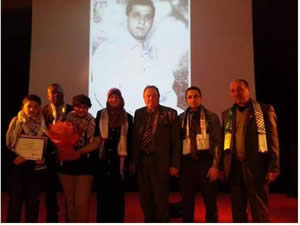 The ceremony where honorary citizenship was conferred on Majdi al-Rimawi, one of Israeli Tourism Minister Rehavam Ze'evi's assassins, by the mayor of Bezons (Facebook, March 11, 2013).