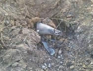 Remains of the rocket that landed in the western Negev (Photo by Edi Israel, used courtesy of NRG, April 3, 2013).