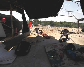 The post near Rafah after the strike (Wafa News Agency, April 28, 2013).