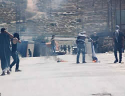 Palestinian youths set fire to an Israeli flag during a violent confrontation with IDF forces in Hebron