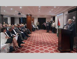 Palestinian Prime Minister Salam Fayyad speaks at a conference devoted to the Palestinian prisoners and marking the 11th anniversary of the detention of Marwan Barghouti in Israel