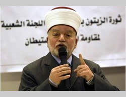 Sheikh Muhammad Hussein, the mufti of Jerusalem and PA, detained by the Israeli police for inciting to riot