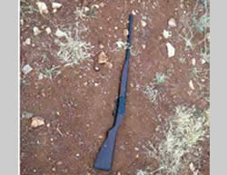 The rifle found in the possession of the Palestinian near the village of Duma