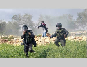 Palestinians throw stones at Border Policemen during a riot in Bila'in on March 1, 2013