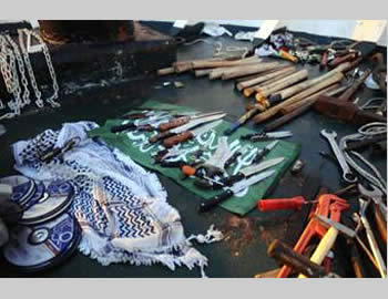Cold weapons (including clubs and knives) found aboard the Turkish ship Mavi Marmara. They had been prepared in advance for use against IDF soldiers