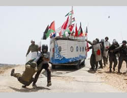 Deadly violence, which became a model for the popular resistance: a mobile model of the Mavi Marmara displayed in Bila'in, one of the focal points of the popular resistance in Judea and Samaria
