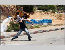 Palestinian youths confront IDF forces near the Ofer prison (Wafa News Agency, May 15, 2013)