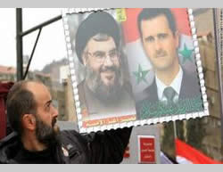 Poster of Hassan Nasrallah and Bashar Assad (Alankabout, Lebanon, August 17, 2012).