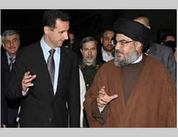 Hassan Nasrallah and Bashar Assad (Hawamir forum website, Saudi Arabia, July 22, 2012).