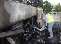 Hezbollah's terrorist attack in Bulgaria: the remains of the Israeli tour bus after the explosion