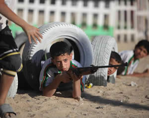 Semi-military training is given to children at a Hamas camp in the Gaza Strip (Palinfo website, June 10, 2013).
