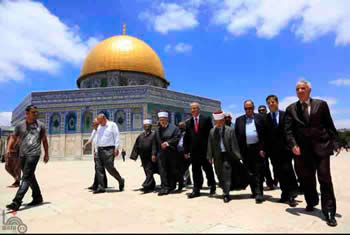 Rami Hamdallah (center, red tie), new Palestinian Authority prime minister, visits the Temple Mount (Wafa News Agency, June 16, 2013).