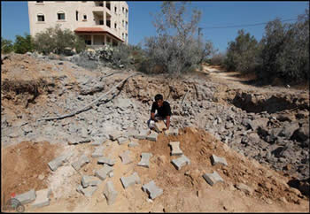 One of the terrorist targets struck by the Israeli Air Force in the town of Al-Zuweida in the central Gaza Strip