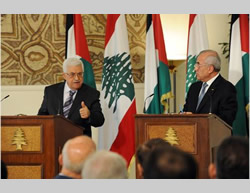 Mahmoud Abbas at a joint press conference with Lebanese President Michel Suleiman