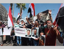 monstration in support of Syria in downtown Ramallah (Paltoday, Hebron Online Facebook page, August 31, 2013).