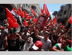 Demonstration held by the PFLP in Ramallah against the talks.