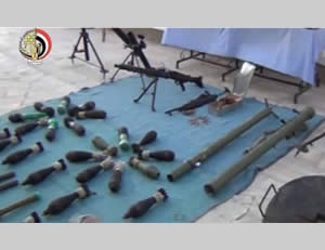 Egypt's army displays weapons seized during the operation in the Sinai Peninsula (Pal Press, September 15, 2013)