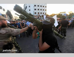 The Hamas military wing presented anti-aircraft weapons, allegedly including SAM-7 missiles (Hamas forum, September 14, 2013).