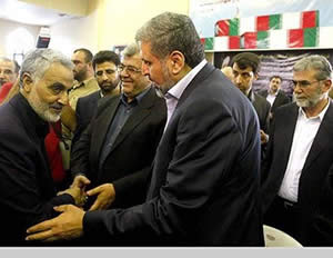 PIJ leader Ramadan Shalah and his deputy Ziyad Nakhala (behind) offer their condolences to Qasem Soleimani (Al-Alam, September 14, 2013).