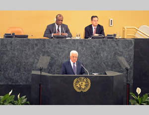 Mahmoud Abbas speaks before the UN General Assembly in New York