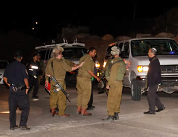 Israeli security forces search the Jewish village of Psagot after a terrorist operative infiltrated the village and wounded a nine year-old girl