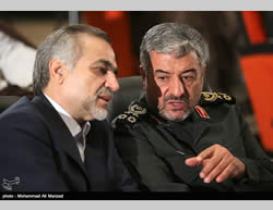 Fereydoun with Revolutionary Guards Commander Mohammad Ali Jafari at a recent convention of Revolutionary Guards commanders