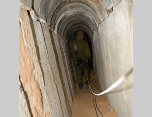 The terrorist tunnel excavated from the Gaza Strip into Israeli territory.