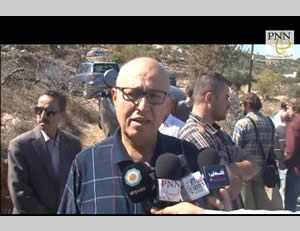 Nabil Shaath interviewed by the media during the activity near Beit Jala.