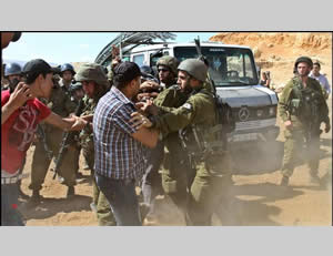 Palestinian activists confront Israeli security forces during the removal of an illegal outpost in the northern Jordan Valley (Wafa News Agency, September 20, 2013).