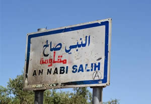 Sign at the entrance to the village of Nabi Saleh, a symbol of the popular resistance. The Arabic word in red (added to the sign by an anonymous hand) reads