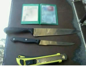 Three knives found at a checkpoint near the Cave of the Patriarchs in Hebron in the bag of a young Palestinian woman who was on her way to carry out a stabbing (Israel Police, July 1, 2013).