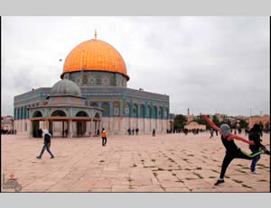 Masked Palestinians throw stones at Israeli security forces after the Friday prayer on the Temple Mount (Wafa News Agency, December 6, 2013).